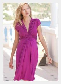 Women's-Pink-Fuchsia-Knot-Front-Maternity-Dress
