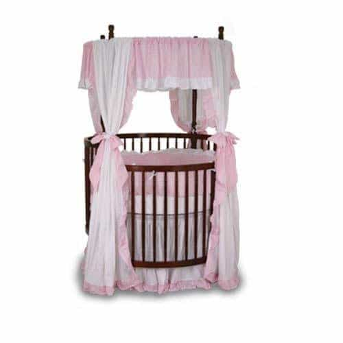 Angel Line Round Crib Bedding comes with finely-embossed fitted sheet, dust ruffle, bumper, comforter and canopy valance with ribbon tie-backs
