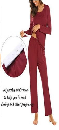 Full length maternity pant features with perfect elastic waistband and adjustable drawstring