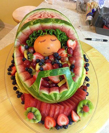 Watermelon-carriage-with-baby-cantaloupe